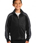 Sport-Tek YST92 Youth Piped Tricot Track Jacket Black/Iron Grey