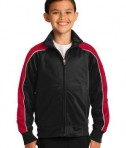 Sport-Tek YST92 Youth Piped Tricot Track Jacket Black/True Red