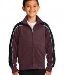 Sport-Tek YST92 Youth Piped Tricot Track Jacket Maroon/Black