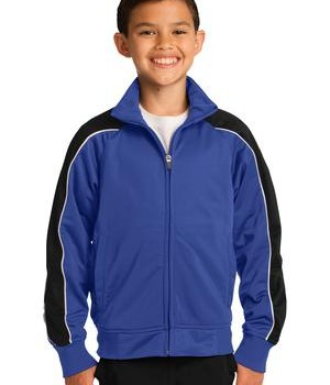 Sport-Tek YST92 Youth Piped Tricot Track Jacket Royal/Black/White