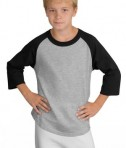 Sport-Tek YT200 Youth Colorblock Raglan Jersey Black/Grey