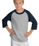 Sport-Tek YT200 Youth Colorblock Raglan Jersey Navy/Grey