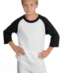 Sport-Tek YT200 Youth Colorblock Raglan Jersey White/Black