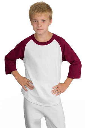 Sport-Tek YT200 Youth Colorblock Raglan Jersey White/Cardinal
