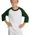 Sport-Tek YT200 Youth Colorblock Raglan Jersey White/Forest Green