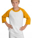Sport-Tek YT200 Youth Colorblock Raglan Jersey White/Gold