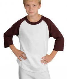 Sport-Tek YT200 Youth Colorblock Raglan Jersey White/Maroon