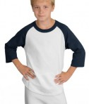 Sport-Tek YT200 Youth Colorblock Raglan Jersey White/Navy