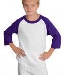 Sport-Tek YT200 Youth Colorblock Raglan Jersey White/Purple