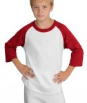 Sport-Tek YT200 Youth Colorblock Raglan Jersey White/Red