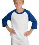 Sport-Tek YT200 Youth Colorblock Raglan Jersey White/Royal