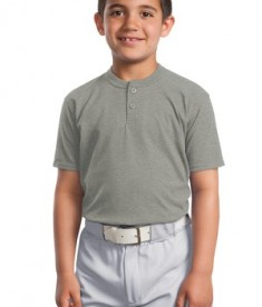 Sport-Tek YT210 Short Sleeve Youth Henley Heathered Grey