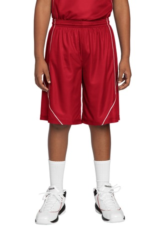 Sport-Tek YT565 Youth Mesh Reversible Spliced Short True Red