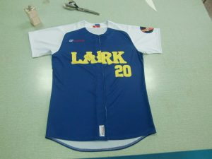 Sublimation Baseball Uniforms Team Lark Blue Yellow and White