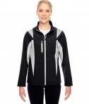 Team 365 Ladies' Icon Colorblock Soft Shell Jacket Black/Sport Silver