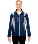 Team 365 Ladies' Icon Colorblock Soft Shell Jacket Sport Dark Navy/Sport Silver