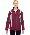 Team 365 Ladies' Icon Colorblock Soft Shell Jacket Sport Maroon/Sport Silver