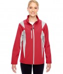 Team 365 Ladies' Icon Colorblock Soft Shell Jacket Sport Red/Sport Silver