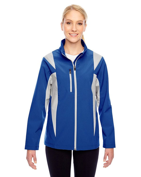 Team 365 Ladies' Icon Colorblock Soft Shell Jacket Sport True Royal/Sport Silver
